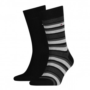 Tommy Hilfiger Mens Striped Socks - Black