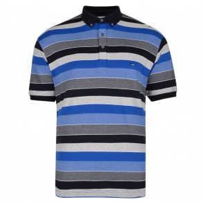Peter Gribby 100% Cotton Striped Interlock Jersey Polo Shirt